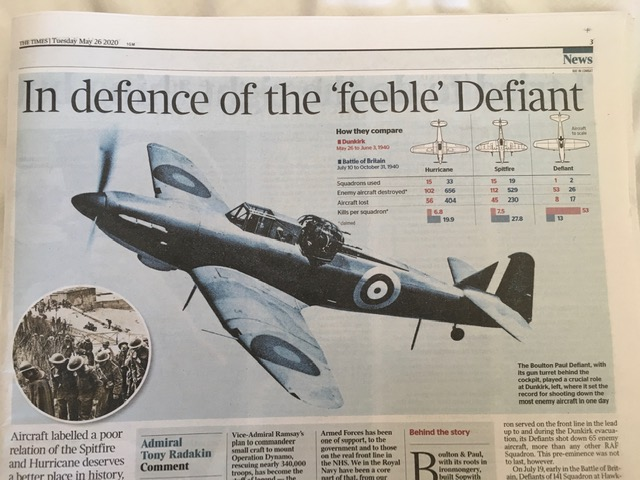Times coverage of Defiant at Dunkirk